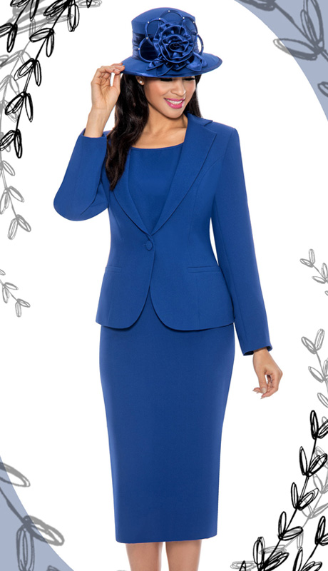 Giovanna 0823-ROY ( 3pc Peachskin Womens Suit With Jacket, Cami And Skirt )