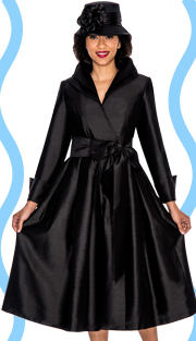 Giovanna 1435-BLK ( 1pc Shantung Women Dress Fully Lined )