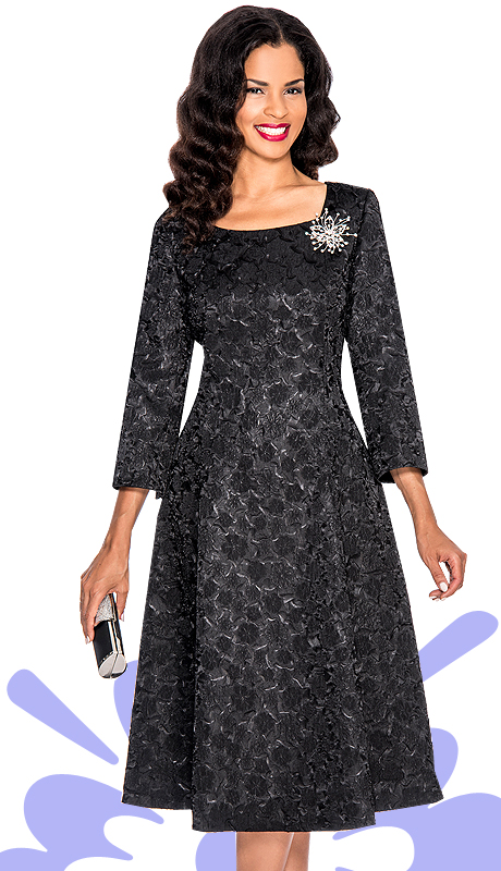 Giovanna 1444-BLK  ( 1pc Brocade Women Church Dress With Rhinestones Brooch )