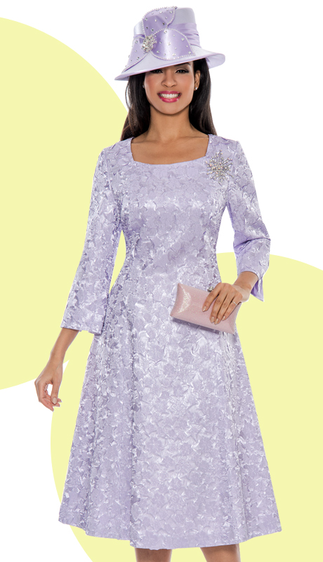 Giovanna 1444-LAV-220 ( 1pc Brocade Women Church Dress With Designer Brooch )