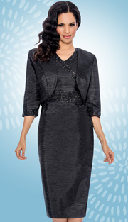 Giovanna 1423-BLK-610 ( 2pc Taffeta Jacket With Sleeveless Dress, Bead And Rhinestone Embellishments )