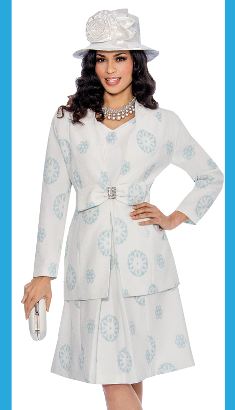 Giovanna 1034-BLU-IH ( 2pc Novelty With Floral Pattern, Large Bow With Rhinestone Clasp At Waist On Jacket With Dress )