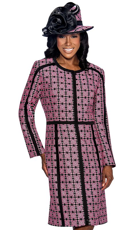 Giovanna 1045-PB ( 2pc Novelty Ladies Church Jacket Dress With Ornate Patterned Long Jacket And Solid V-Neck, Sleeveless Dress )
