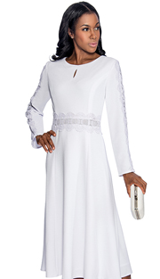 Giovanna 1472-WH ( 1pc Dress With Keyhole, Lace Trim Around Waist And Down Sleeve )