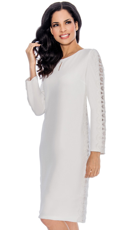 Giovanna 1466-WH ( 1pc MicroFiber Ladies Church Dress With Lace Panels Down Sides And Arms )