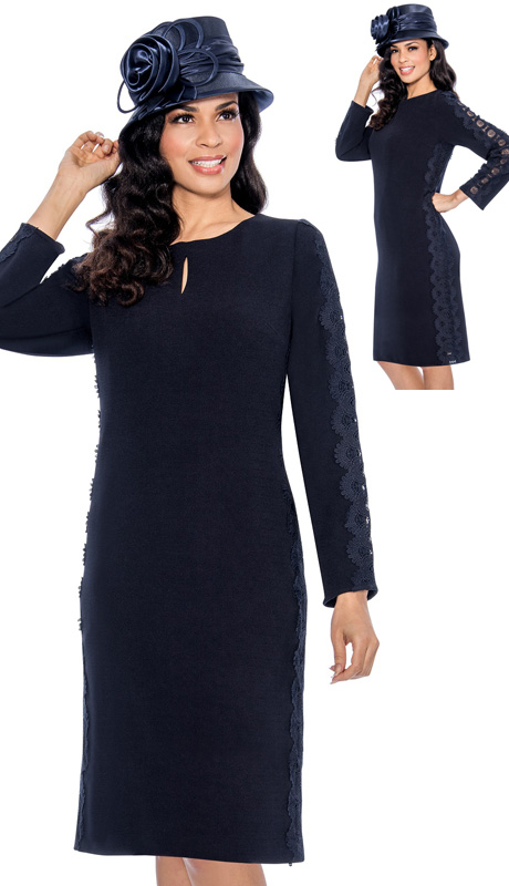 Giovanna 1466-NA ( 1pc MicroFiber Ladies Church Dress With Lace Panels Down Sides And Arms )