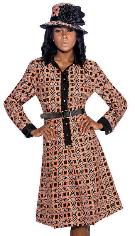 Giovanna 1467-OR ( 2pc Novelty Ladies Church Dress With Ornate Pattern, Button Front And Belt )