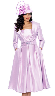 Giovanna 1424-PK ( 2pc Shantung Laadies Church Jacket With Rhinestone Embellishment And Pleated Dress )