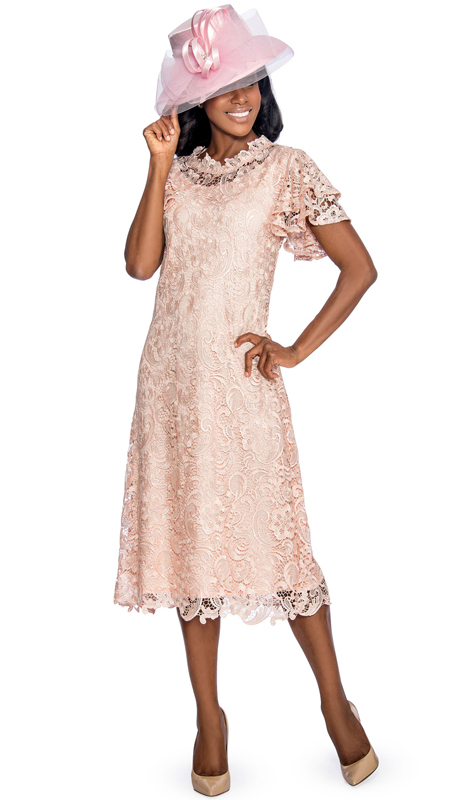 Giovanna 1478-PI ( 1pc Lace Womens Church Dress With Ruffle Collar And Butterfly Sleeves )