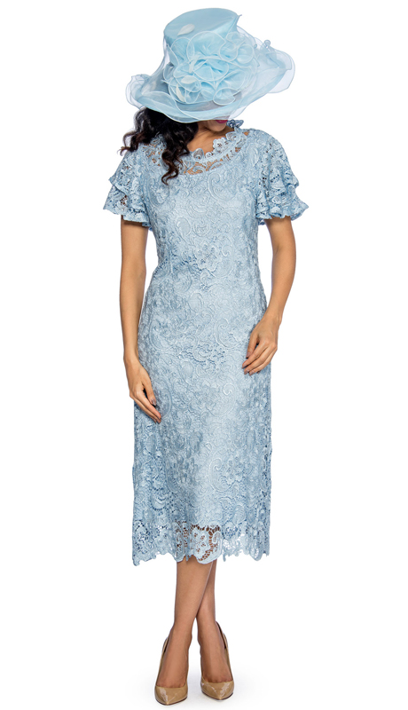 Giovanna 1478-IB ( 1pc Lace Womens Church Dress With Ruffle Collar And Butterfly Sleeves )