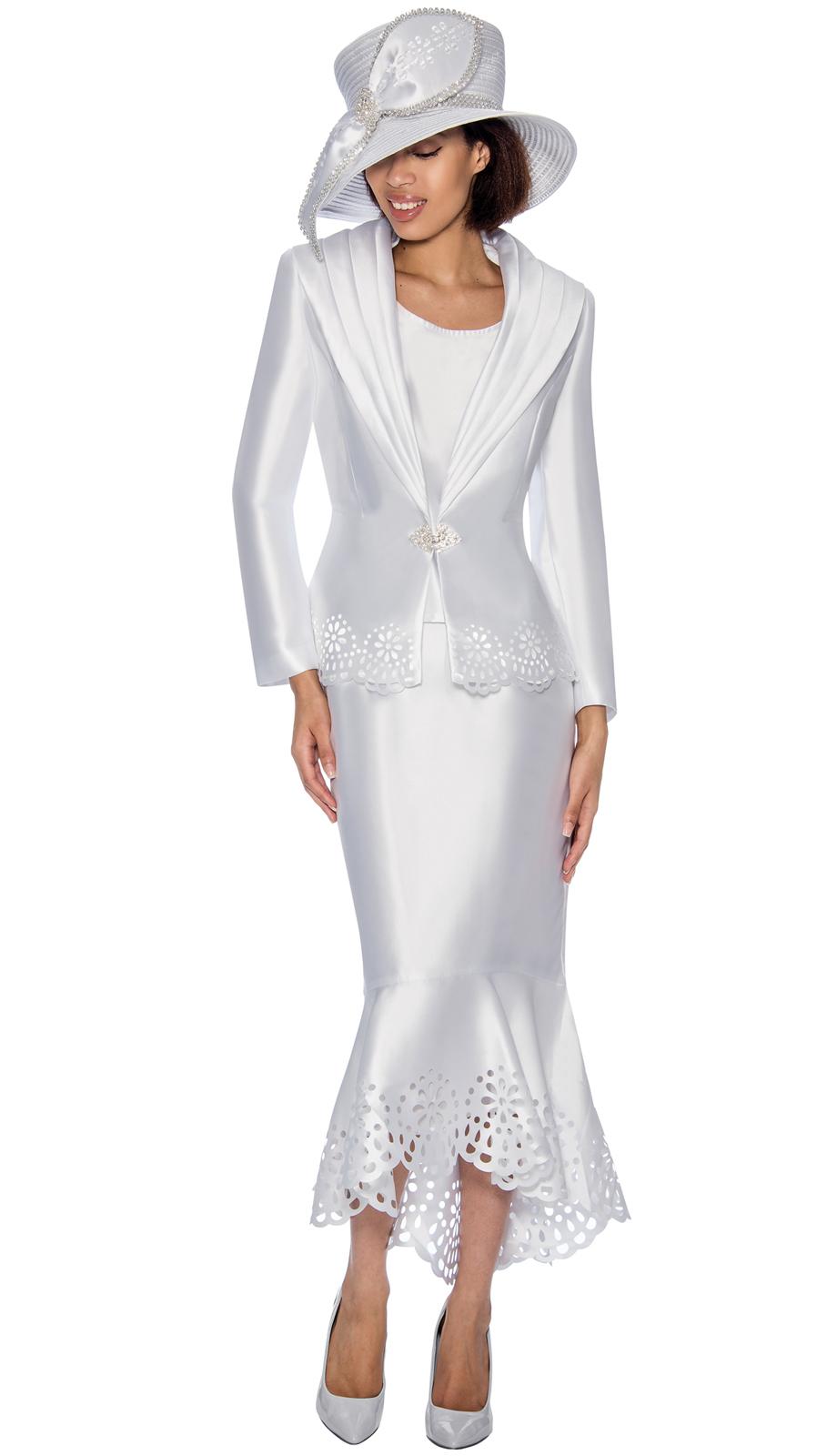 Gmi Suit 6643 3 Piece Women S Suit With Laser Cut And Scalloped Hem