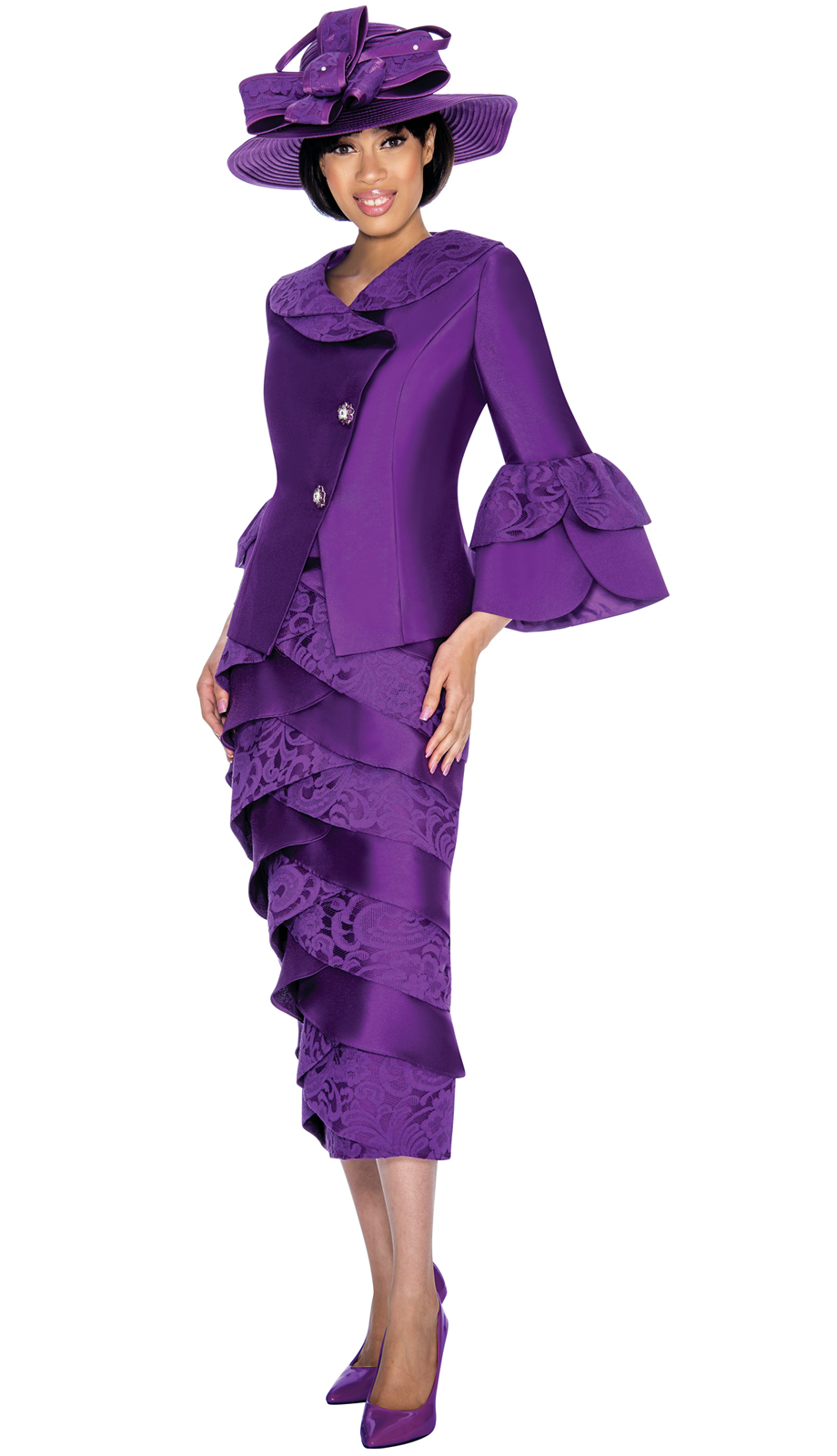 Gmi Suit 6932 2 Piece Women S Suit With Cross Over Jacket And Skirt
