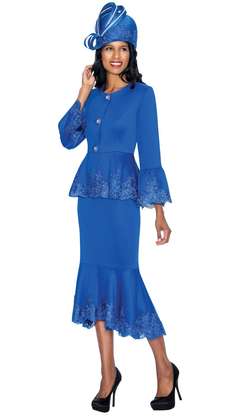 Gmi Suit 6952 2 Piece Women S Suit With Lace Trim Peplum Waist