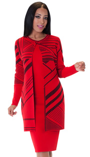 Tally Taylor 5147-RE ( 2pc Two Tone Knit Dress Suit Long Sleeves )
