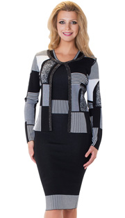 Tally Taylor 5155-BLK ( 2pc KNit Dress Suit Unique Mosaic Print With Rhinestone Detail Jacket )