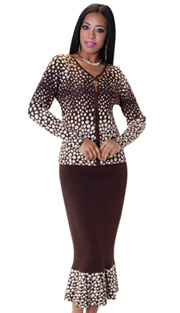 Tally Taylor 5157-BRO ( 2pc Knit Set With Rhinestone On Collar Charming Dalmatian Print And Jeweled Zipper Pull )