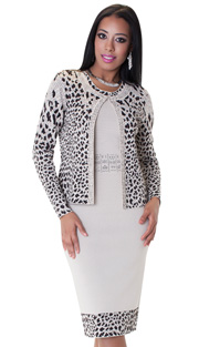 Tally Taylor 5160-AN ( 2pc Knit Dress Suit Gorgeous Leopard Print White Rhinestone Details )