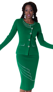 Tally Taylor 5162-EM ( 2pc Knit Set With Jeweled Buttons And Embellished With Beautiful Rhinestone Details )