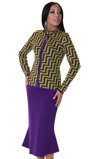 Tally Taylor 5164-PUR ( 2pc KNit Set Zig-Zag Print With Rhinestone On Collar And Jeweled Zipper Pull )