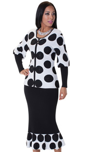 Tally Taylor 5173-BLK ( 2pc Knit Set Charming Polka Dots Print With Rhinestones And Puffed Sleeves )