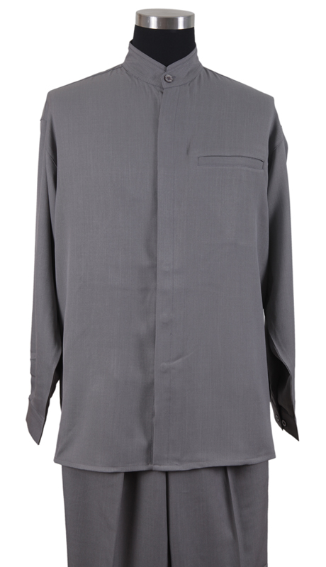 Mens Walking Suit 2826-GR ( 2pc Solid Shirt, Mandarin Collar, Solid Pant )