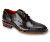 Mens Shoes By Steven Land SL0005-BRN ( Genuine Leather, Lace Up, Cap Toe Oxford With Ombre Effect, Made By Hand )