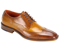 Mens Shoes By Steven Land SL0007-TA ( Genuine Leather, Two-Tone, Lace Up, Wing Tip Oxford, Made By Hand )
