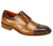Mens Shoes By Steven Land SL0008-BRN ( Genuine Leather, Two-Tone, Lace Up, Cap Toe Oxford, Made By Hand )