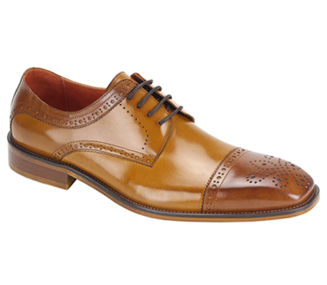 Mens Shoes By Steven Land SL0008-TA ( Genuine Leather, Two-Tone, Lace Up, Cap Toe Oxford, Made By Hand )