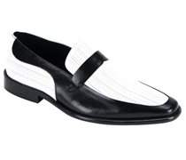 Mens Shoes By Steven Land SL0011-BW ( Genuine Leather, Two-Tone, Slip On Loafers, Made By Hand )
