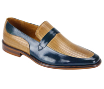 Mens Shoes By Steven Land SL0011-BLU ( Genuine Leather, Two-Tone, Slip On Loafers, Made By Hand )