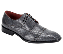 Mens Shoes By Steven Land SL0013-GRA ( Genuine Leather, Lace Up Oxford, Diamond Pattern With Woven Detail, Made By Hand )