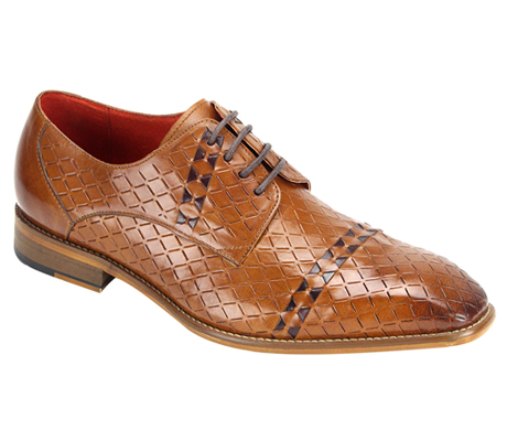 Mens Shoes By Steven Land SL0013-TA ( Genuine Leather, Lace Up Oxford, Diamond Pattern With Woven Detail, Made By Hand )