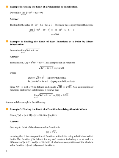 Lesson: Limits by Direct Substitution | Nagwa