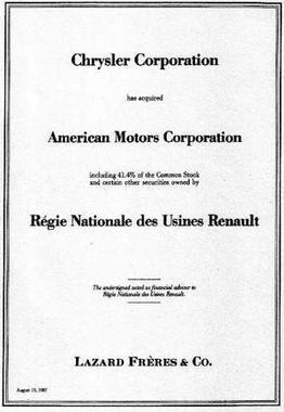 Chrysler Corporation acquires American Motors Corporation