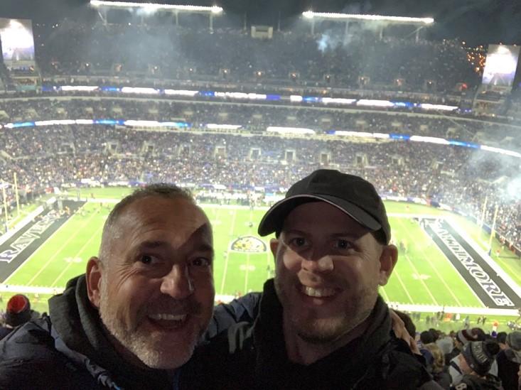 Carl Allen and Adam Markley at Patriots @ Ravens NFL Football Game
