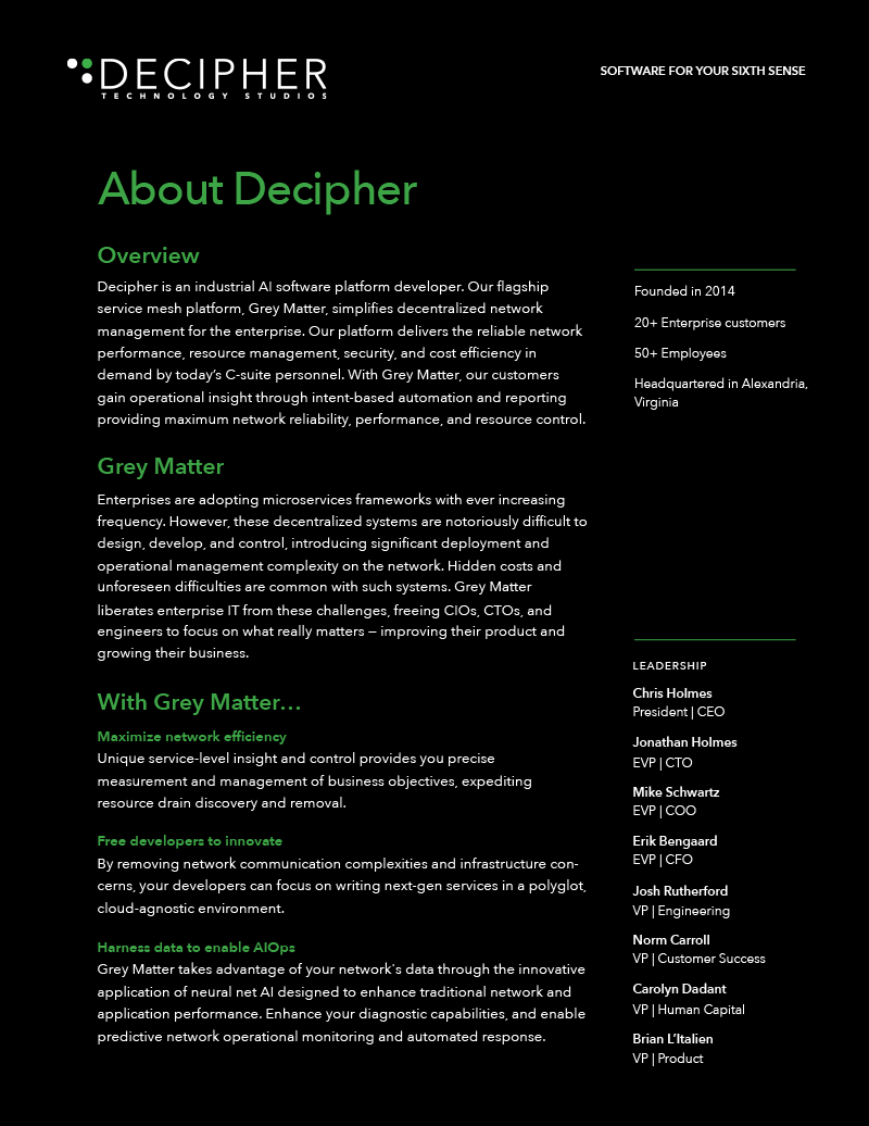 Link to a brief about the Decipher Technology Studios company and its product, Grey Matter.