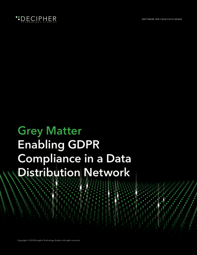 Link to a Grey Matter whitepaper titled Grey Matter: Enabling GDPR Compliance in a Data Distribution Network.