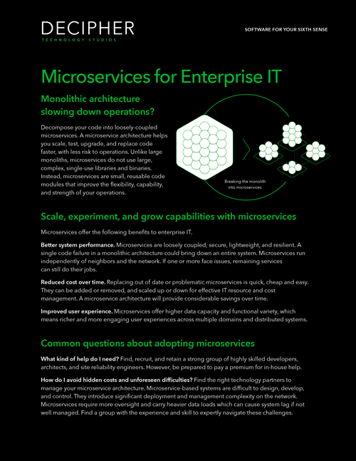 Link to a Grey Matter whitepaper brief titled Microservices for Enterprise IT.