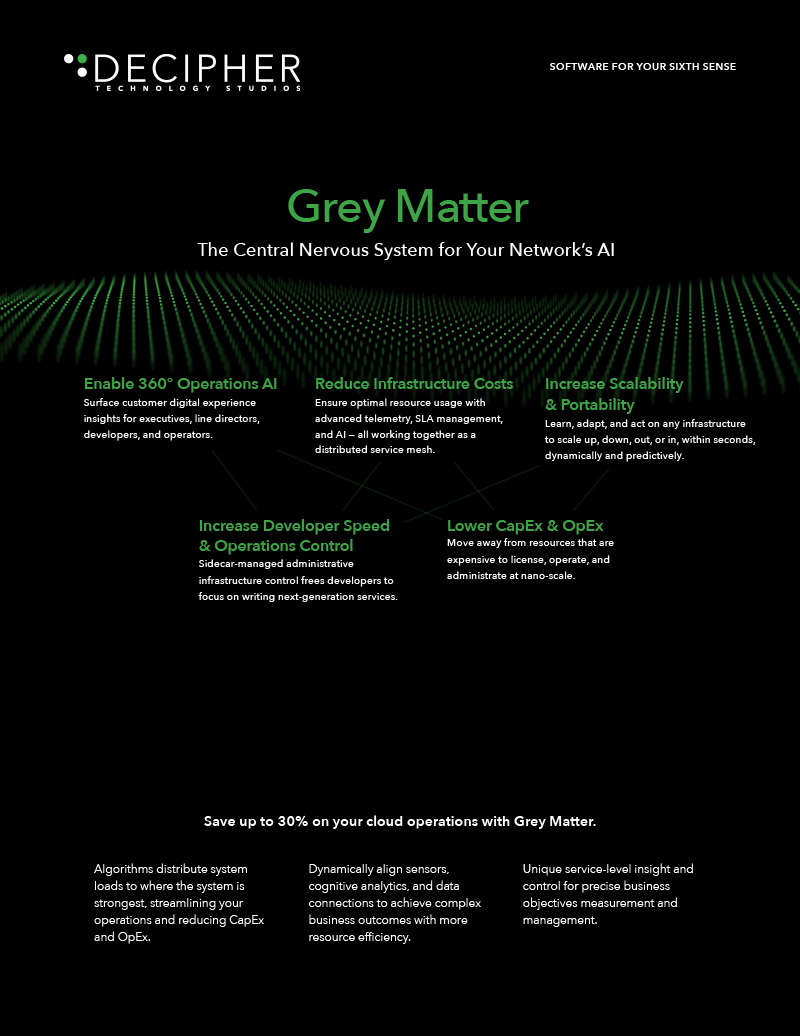 Link to a Grey Matter whitepaper brief titled Grey Matter: The Central Nervous System for Your Network's AI.