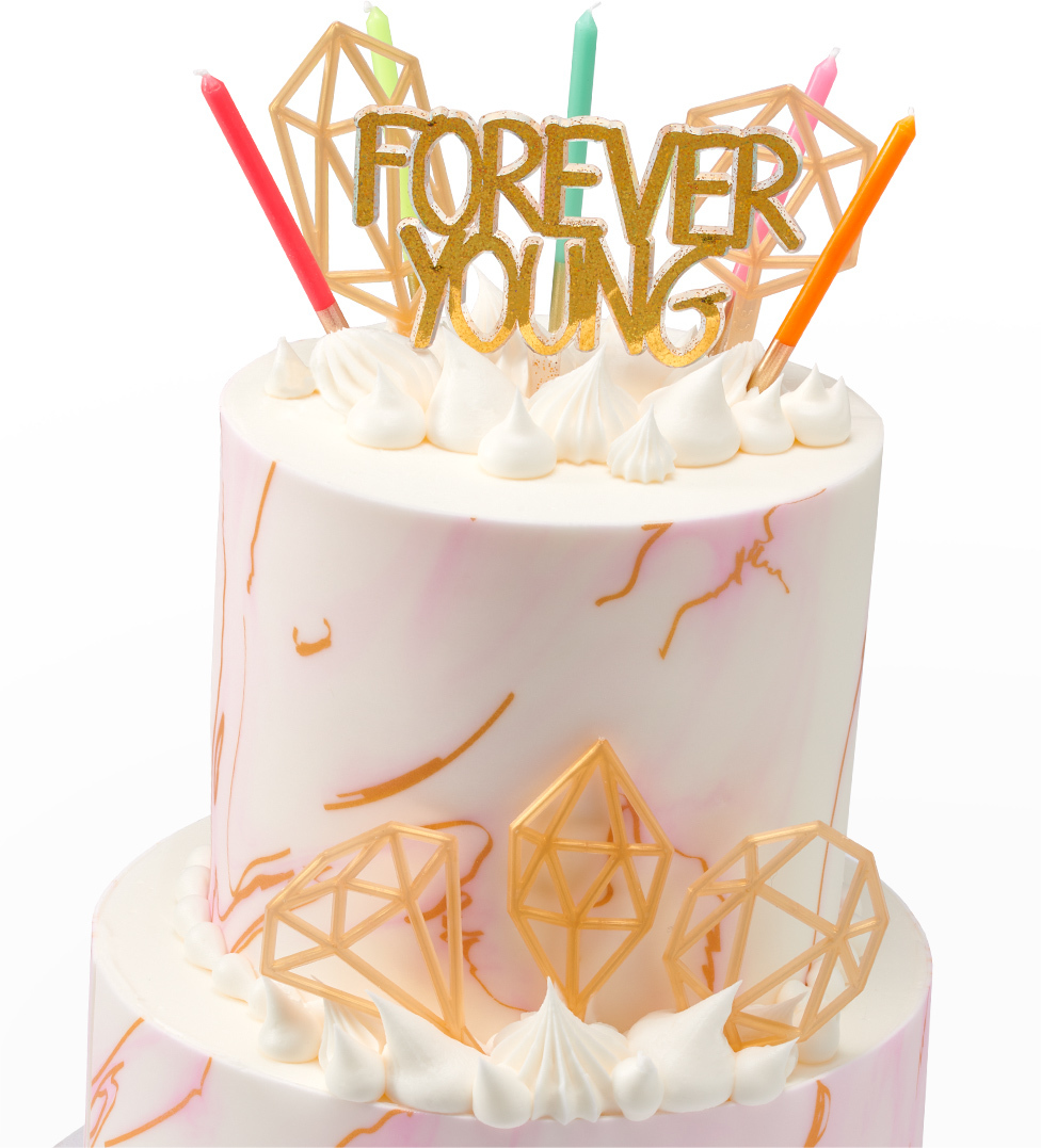Tiered Cake Forever Young Candle and Geometric Shapes