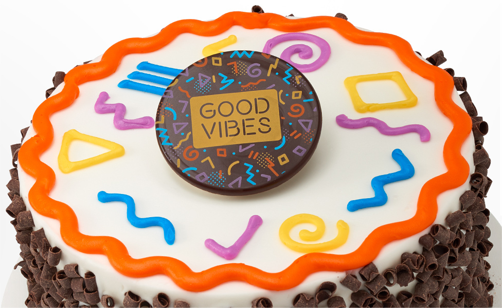 Good Vibes Cake with High Energy Designs and Chocolate