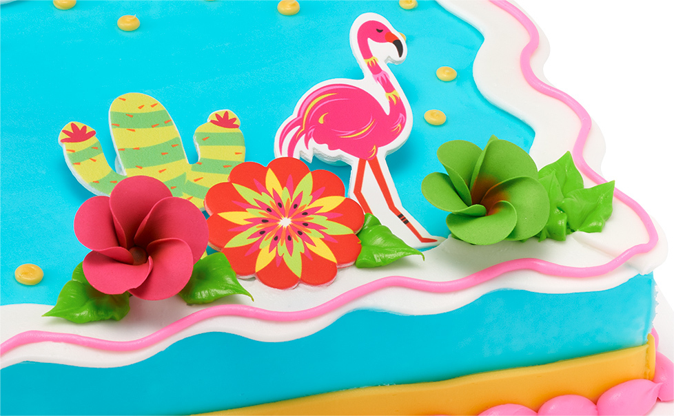 Blue Cake with Pink Flamingo