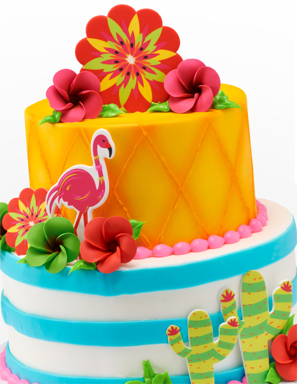 Tiered Cake with Blue Strips and Flamingo