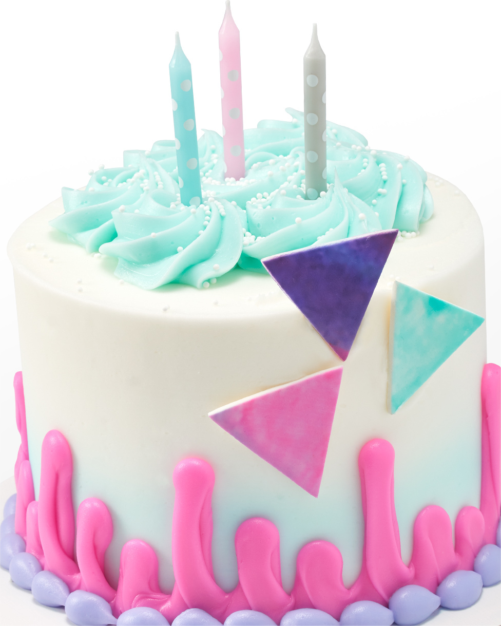 Cake with Candles and Triangles on Side