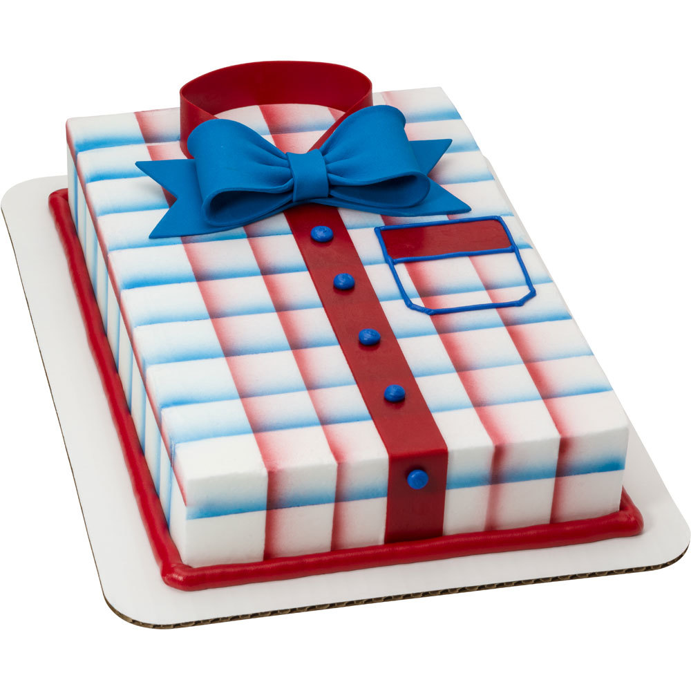 Americana Plaid Shirt with Gum Paste Bowtie 1/4 Sheet Cake Design