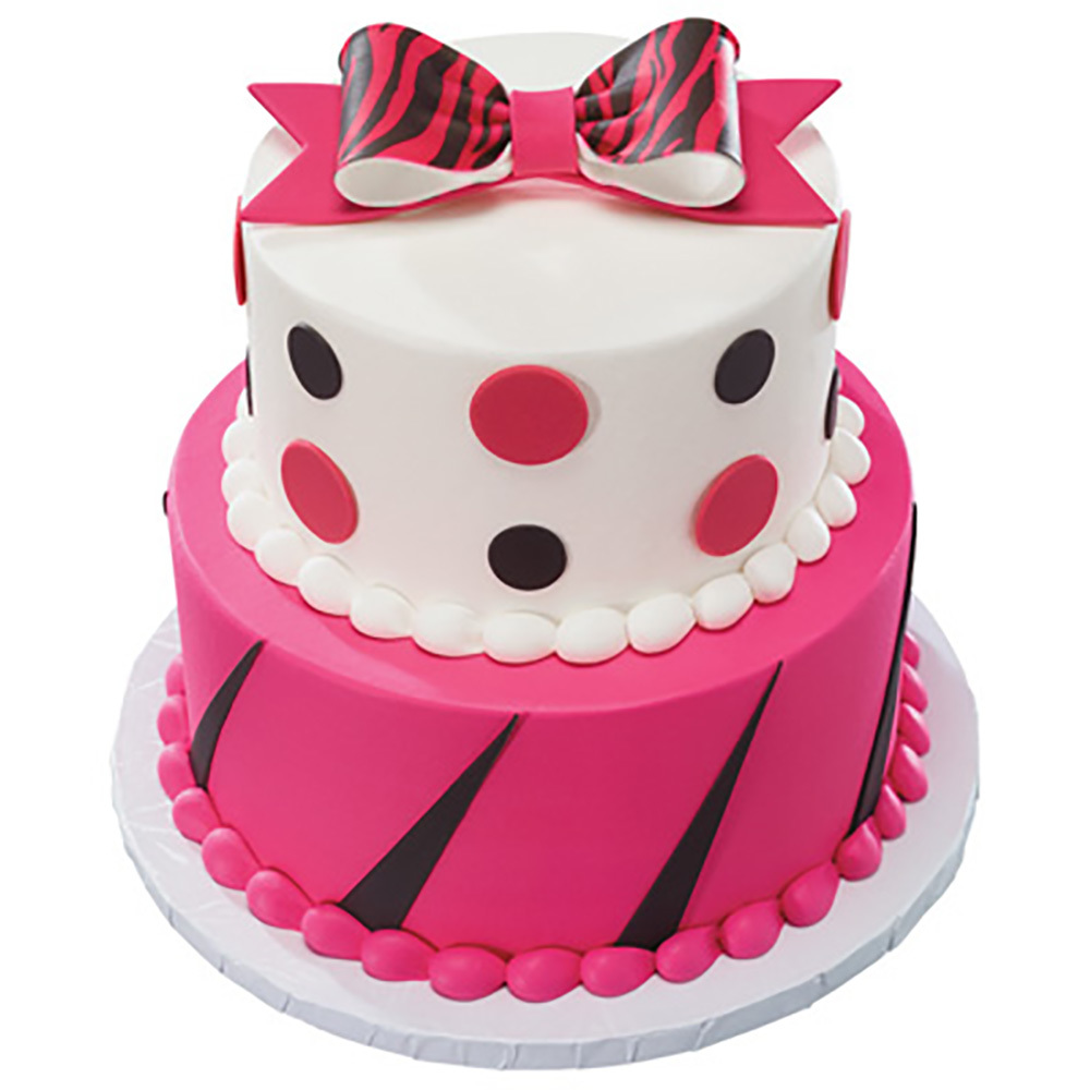 Animal Print DecoShapes and Gum Paste Bow Stacked Fondant Cake Design