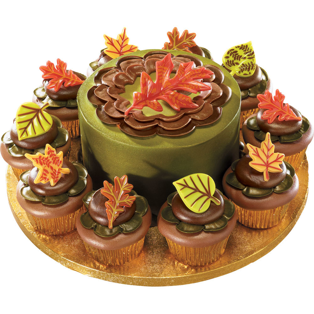 Autumn Leaves Cake and Cupcakes