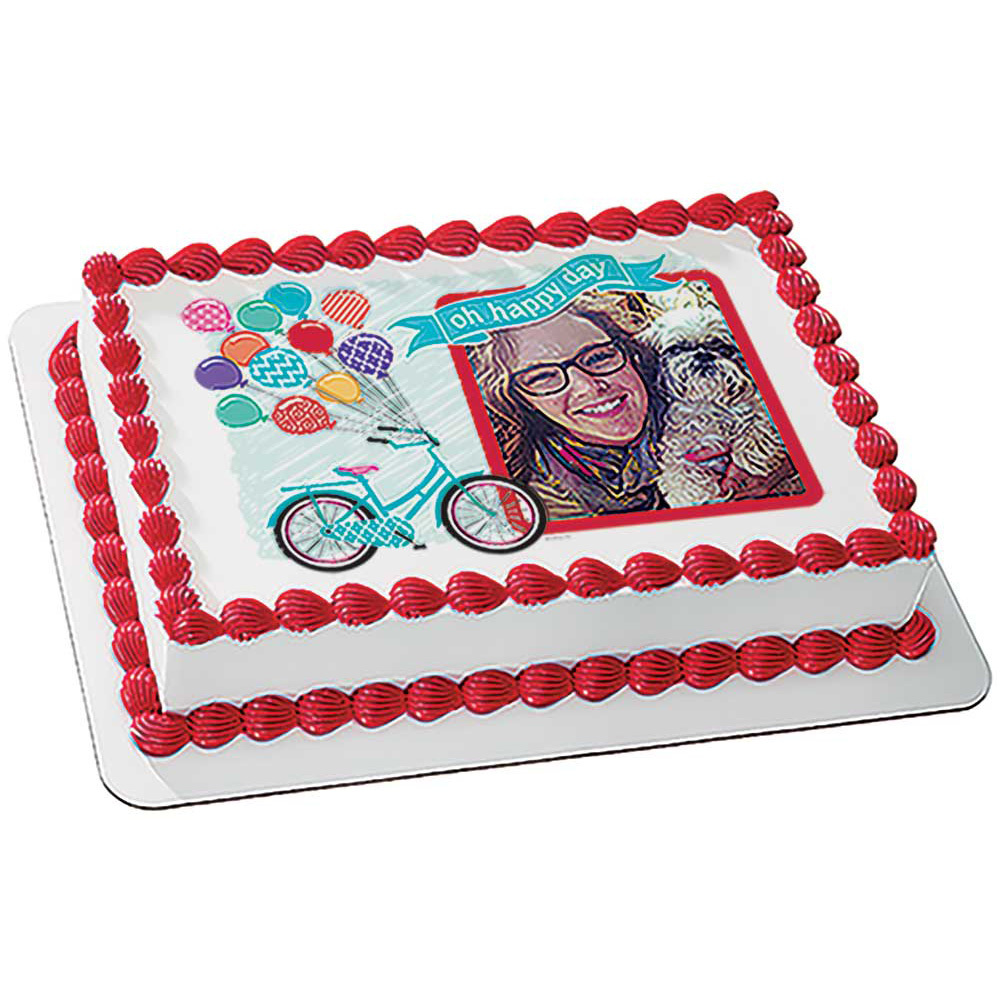 Balloons and Bike Oh Happy Day Cake Design