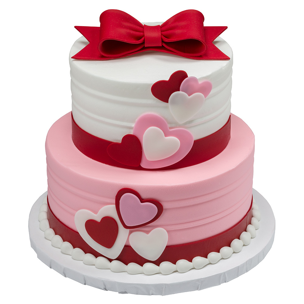 Be Mine 2-Tiered Round Stacked Cake Design